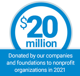 $20 million donated by our companies and foundations to nonprofit organizations in 2019