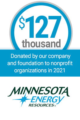 $127 thousand donated by our foundation to nonprofit organizations in 2019 Minnesota Energy Resources