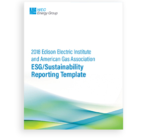 2018 EEI and AGA ESG/Sustainability Reporting Template cover